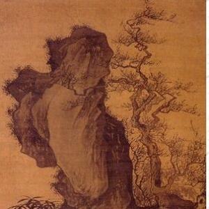 [明]唐寅《灌木丛篠图轴》--华夏文化艺术网